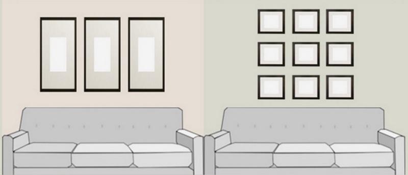 Схема размещение картин над диваном
