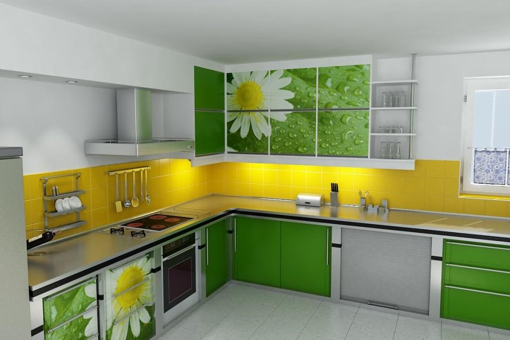 Цветовое сочетания с зеленой кухней