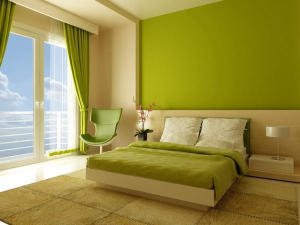 Зеленые обои в спальню