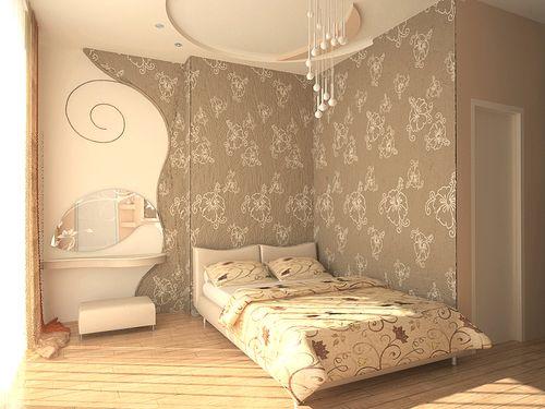 Нейтральные тона обоев в спальню
