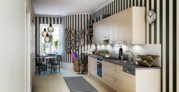 Обои на кухни с вертикальными линиями
